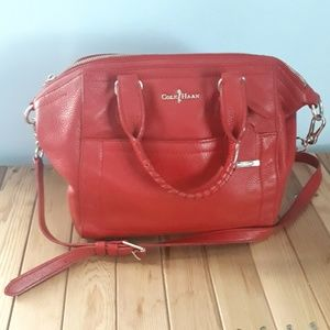 Red Leather Cole Hann Satchel
